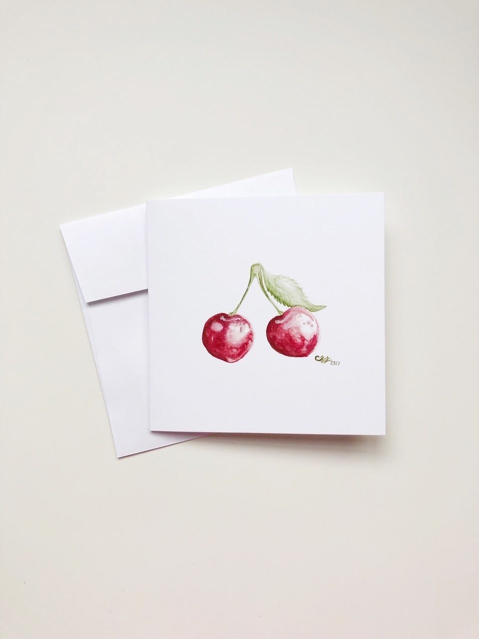 Watercolour Cherries (5x5 Card/Frameable Art Print)-1