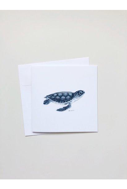 Watercolour Baby Sea Turtle (5x5 Card/Frameable Art Print)