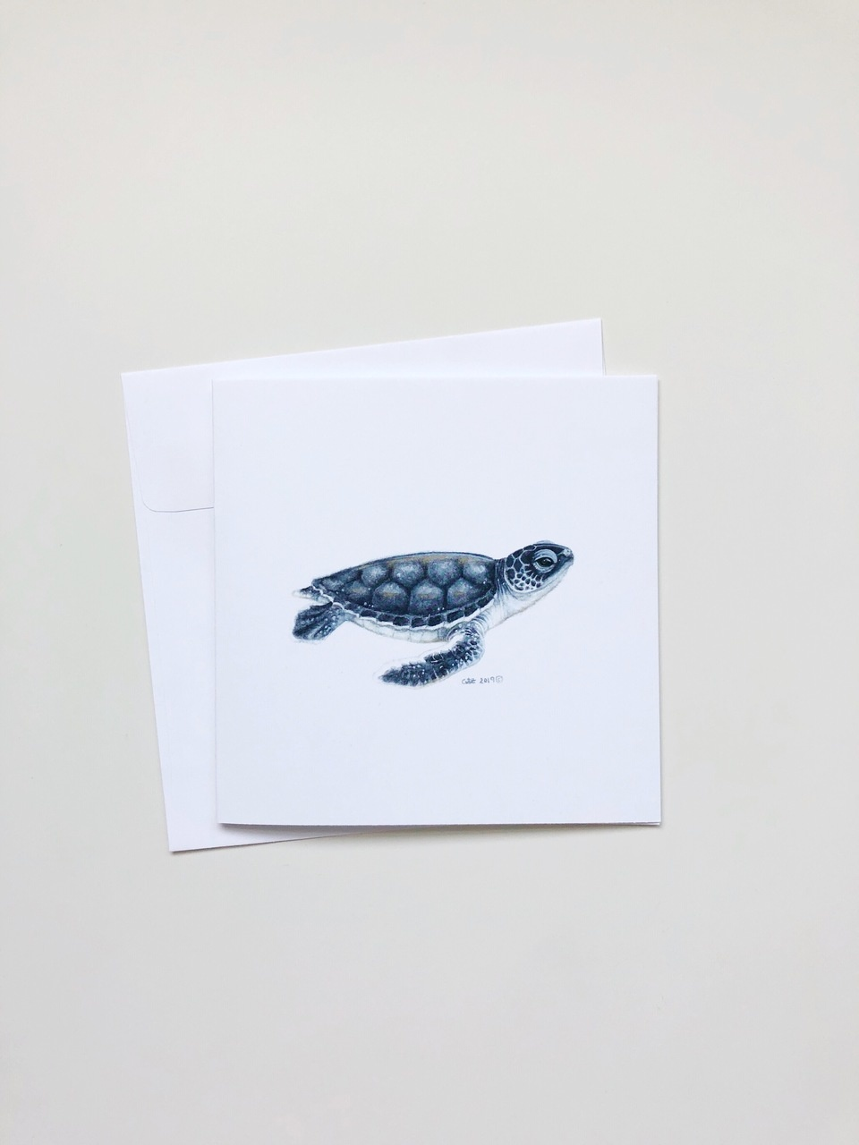 Watercolour Baby Sea Turtle (5x5 Card/Frameable Art Print)-1