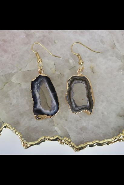 Black Agate Geode - Drop Earrings