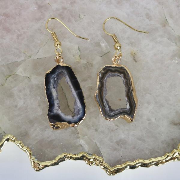 Black Agate Geode - Drop Earrings-1