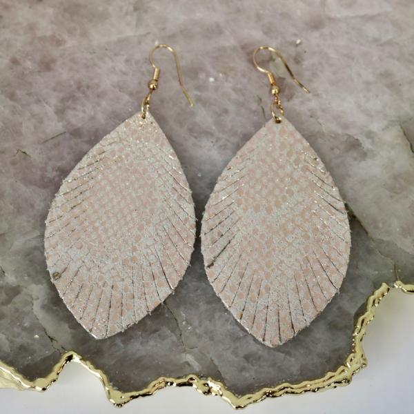 Earrings: Gold Snakeskin-1