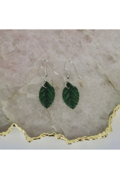 Earrings: Petite Green Leaf