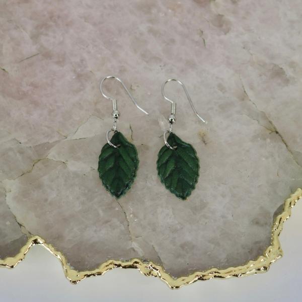 Earrings: Petite Green Leaf-1
