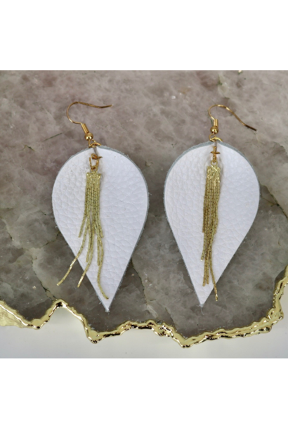 Earrings: White Leather Gold Icicle