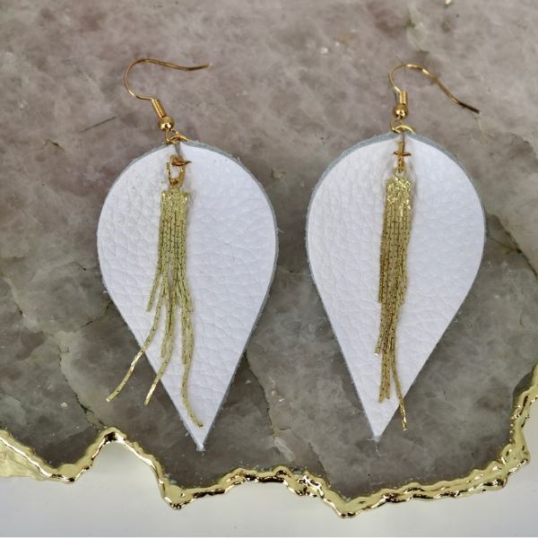 Earrings: White Leather Gold Icicle-1