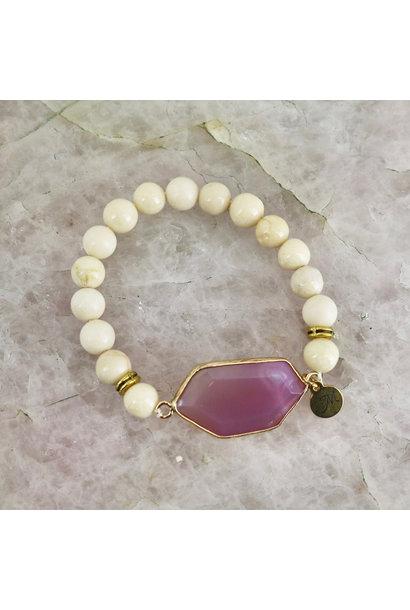Royal Bracelet - Ivory Stone with Magenta Gem