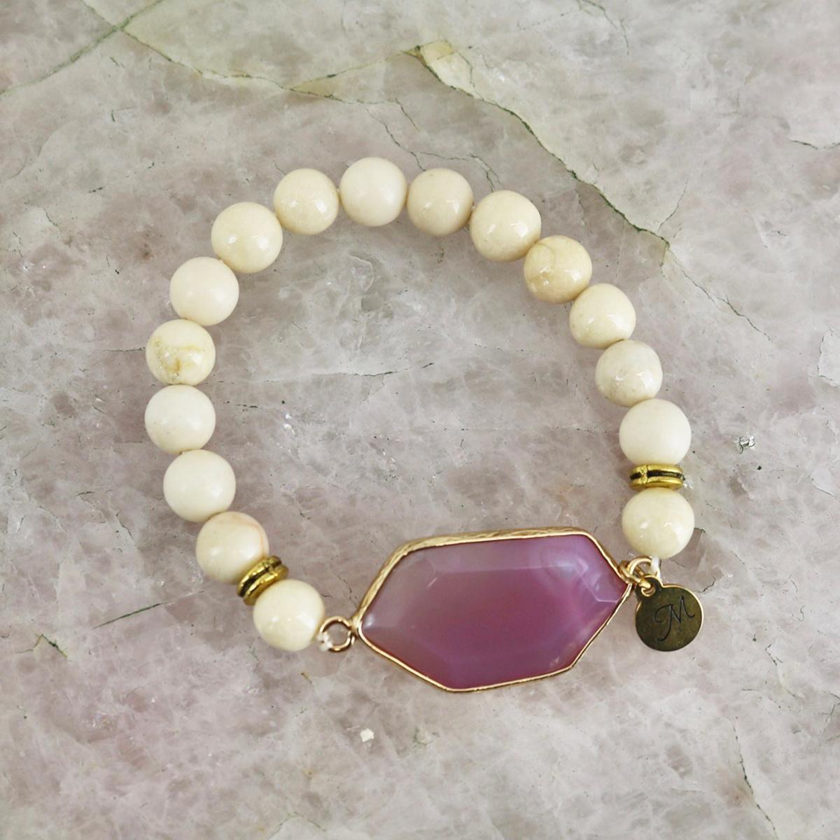 Royal Bracelet - Ivory Stone with Magenta Gem-1