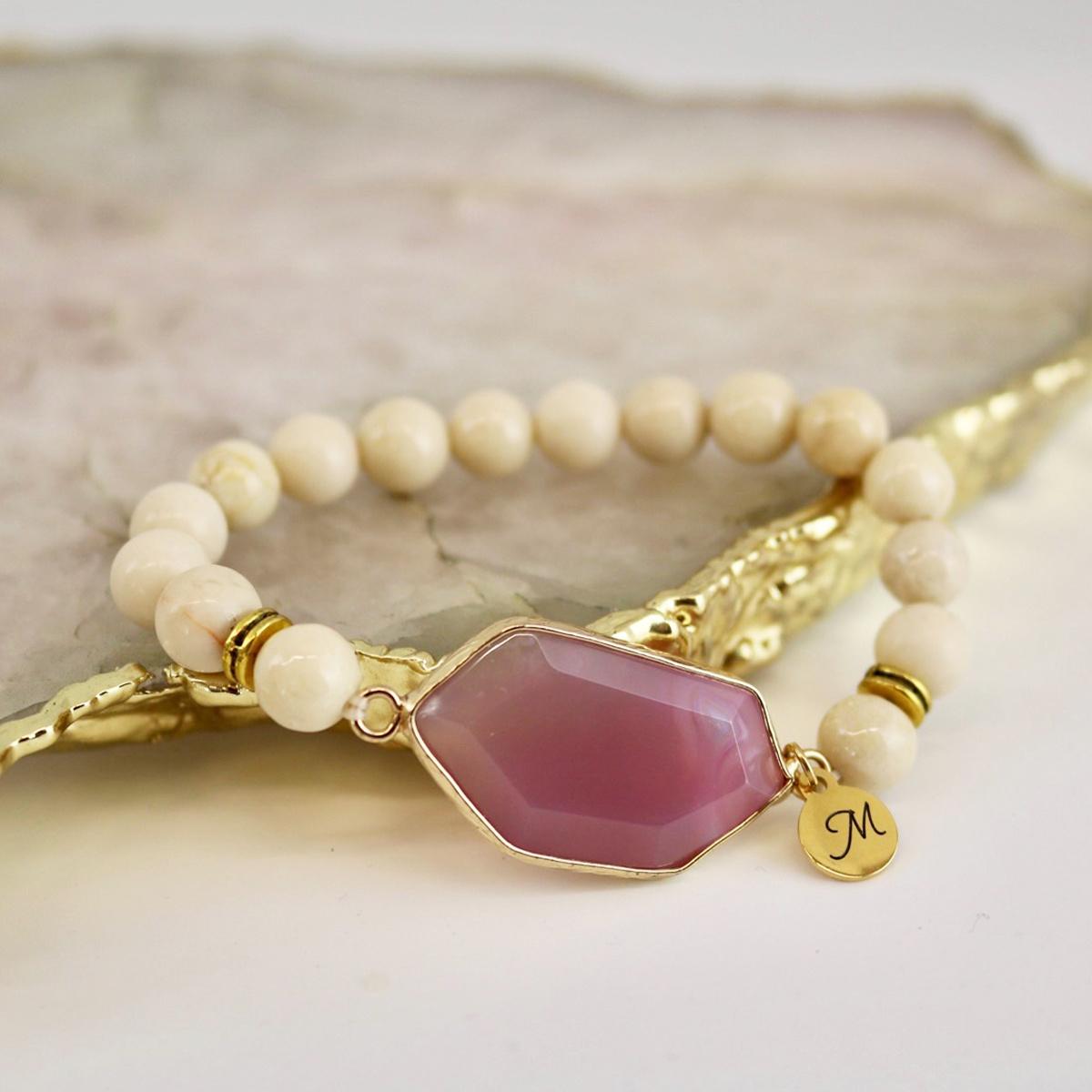 Royal Bracelet - Ivory Stone with Magenta Gem-2
