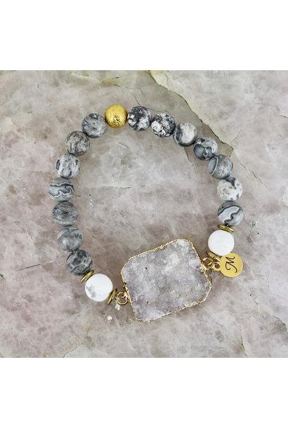 Solar Bracelet - Grey Stone with White Quartz
