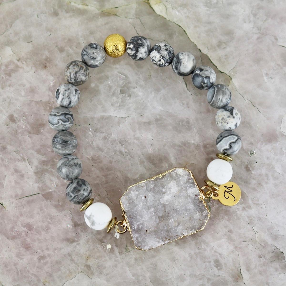 Solar Bracelet - Grey Stone with White Quartz-1