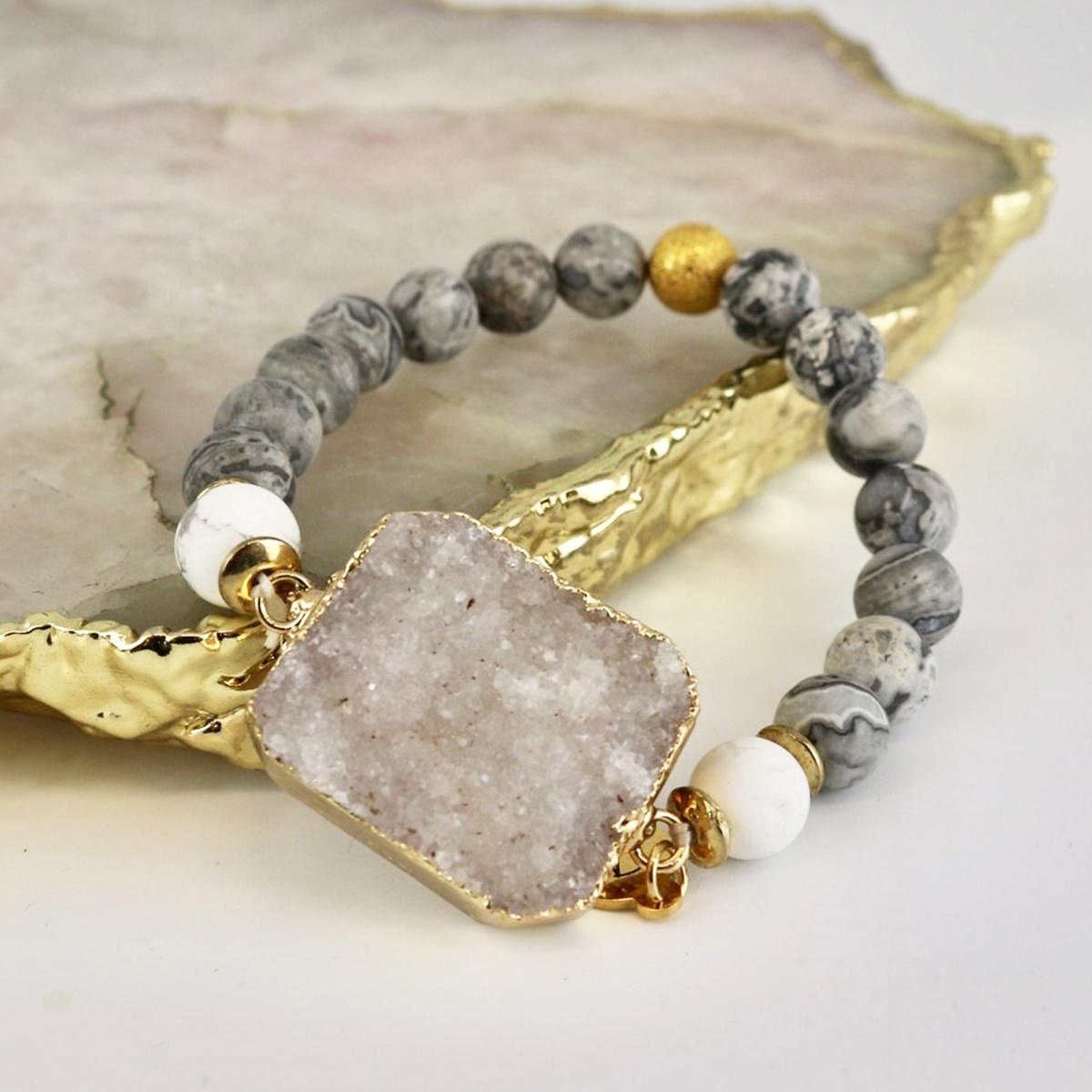 Solar Bracelet - Grey Stone with White Quartz-2
