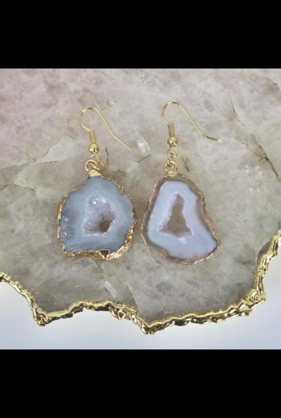 White Agate Geode - Drop Earrings
