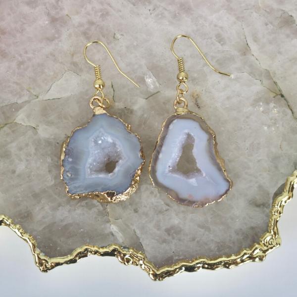 White Agate Geode - Drop Earrings-1