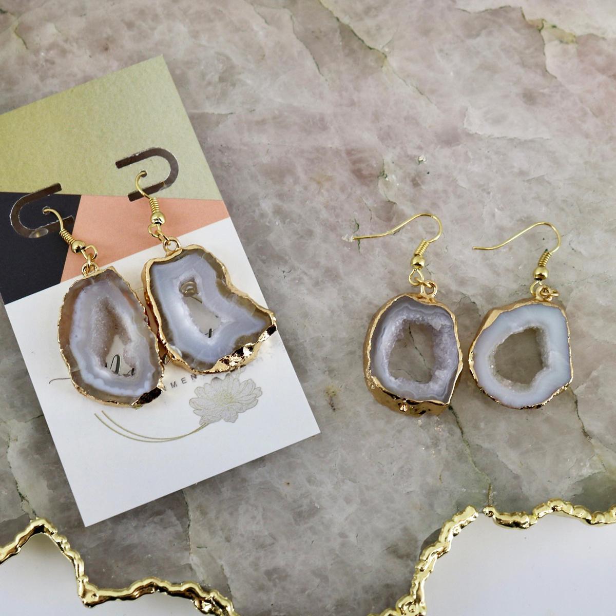 White Agate Geode - Drop Earrings-2