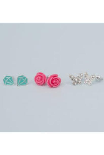 Rose Studded Earrings (3pcs)
