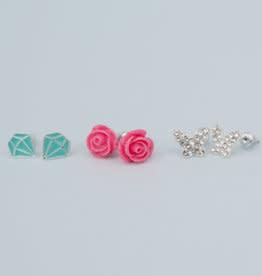 Rose Studded Earrings (3pcs)-1