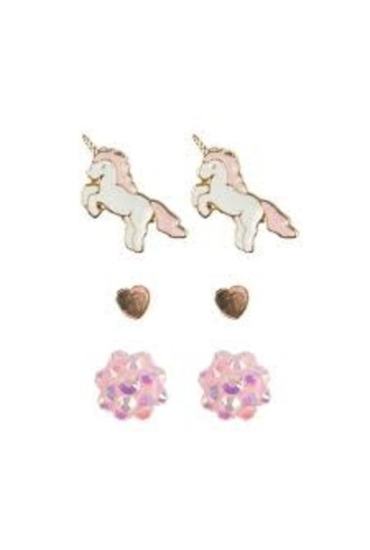 Unicorn Studded Earrings (3pcs)