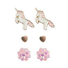 Unicorn Studded Earrings (3pcs)-1
