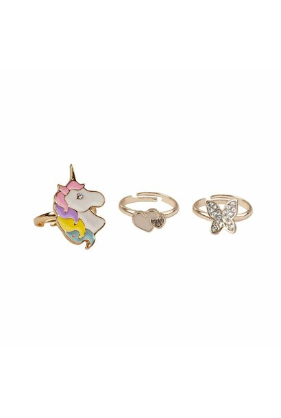 Butterfly & Unicorn Rings (3pcs)