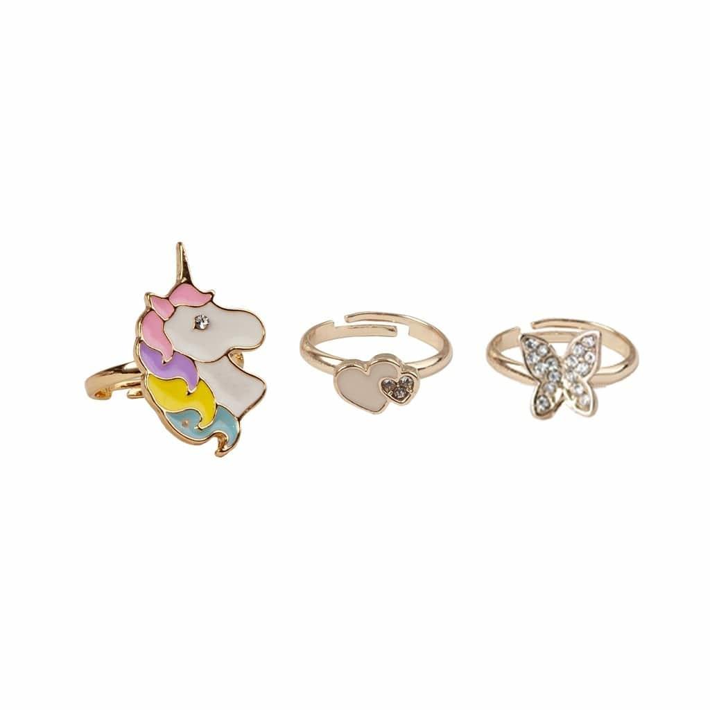 Butterfly & Unicorn Rings (3pcs)-1