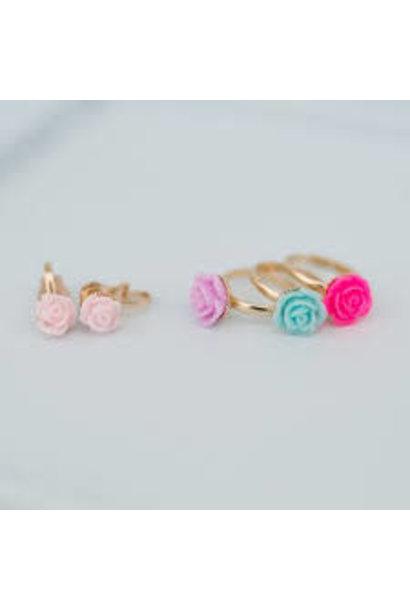 Rose Rings & Earrings Set (3 pcs rings & clip-on earrings)