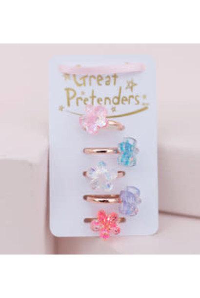 Shimmer Flower Rings (5pcs)