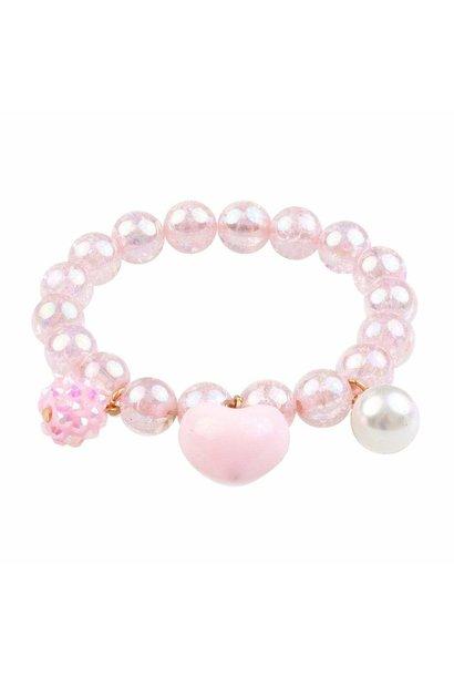 Pink Heart Bobble Bracelet