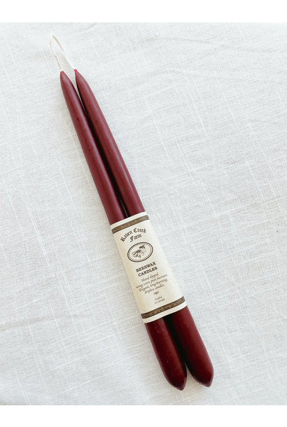 Beeswax Candle - Tapers (Burgundy)