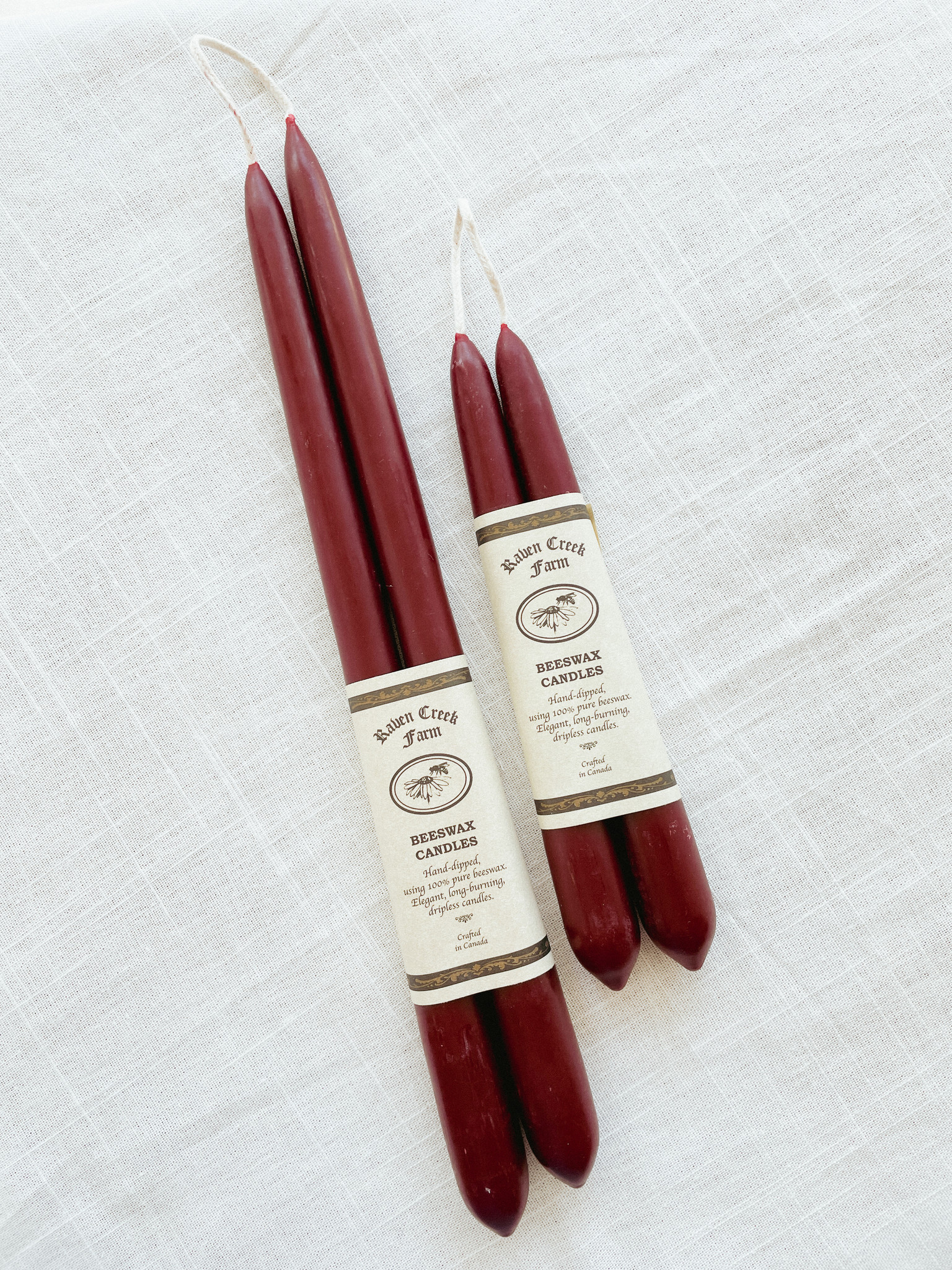 Beeswax Candle - Tapers (Burgundy)-3