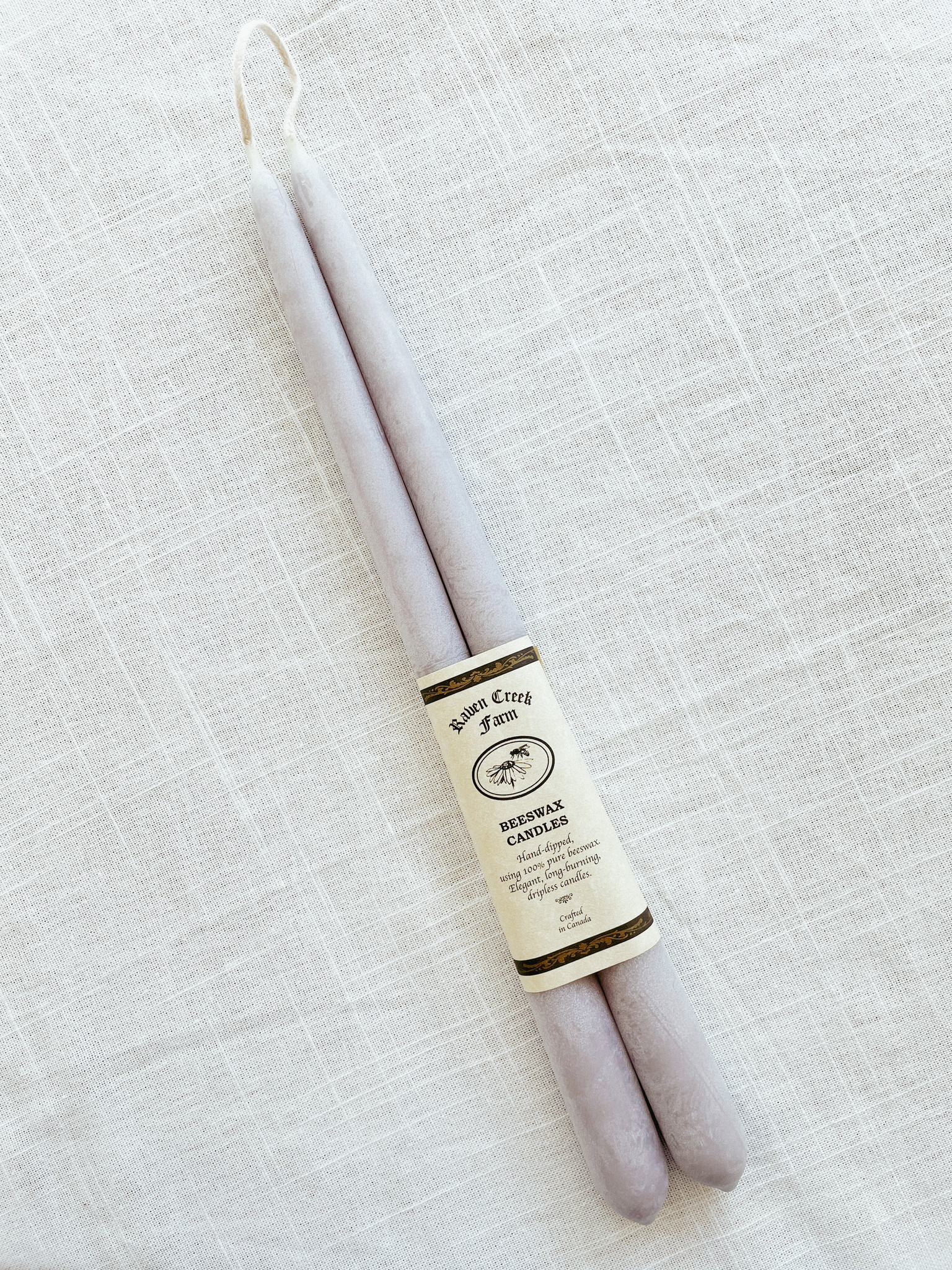 Beeswax Candle - Tapers (Lavender Grey)-1