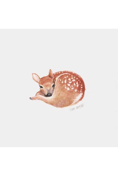 Watercolour Fawn (5x5 Card/Frameable Art Print)