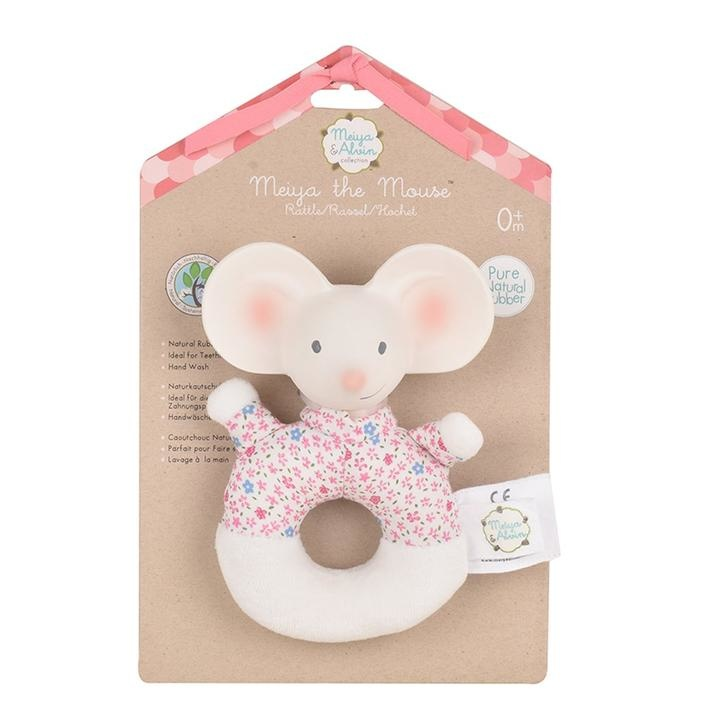 Meiya the Mouse - Soft Rattle with Rubber Head-2