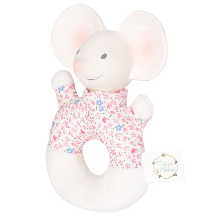 Meiya the Mouse - Soft Rattle with Rubber Head-3