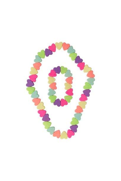 Sweet Tart Heart Necklace/Bracelet Set