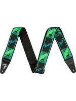 FENDER FENDER NEON MONOGRAM STRAP  GREEN/BLUE