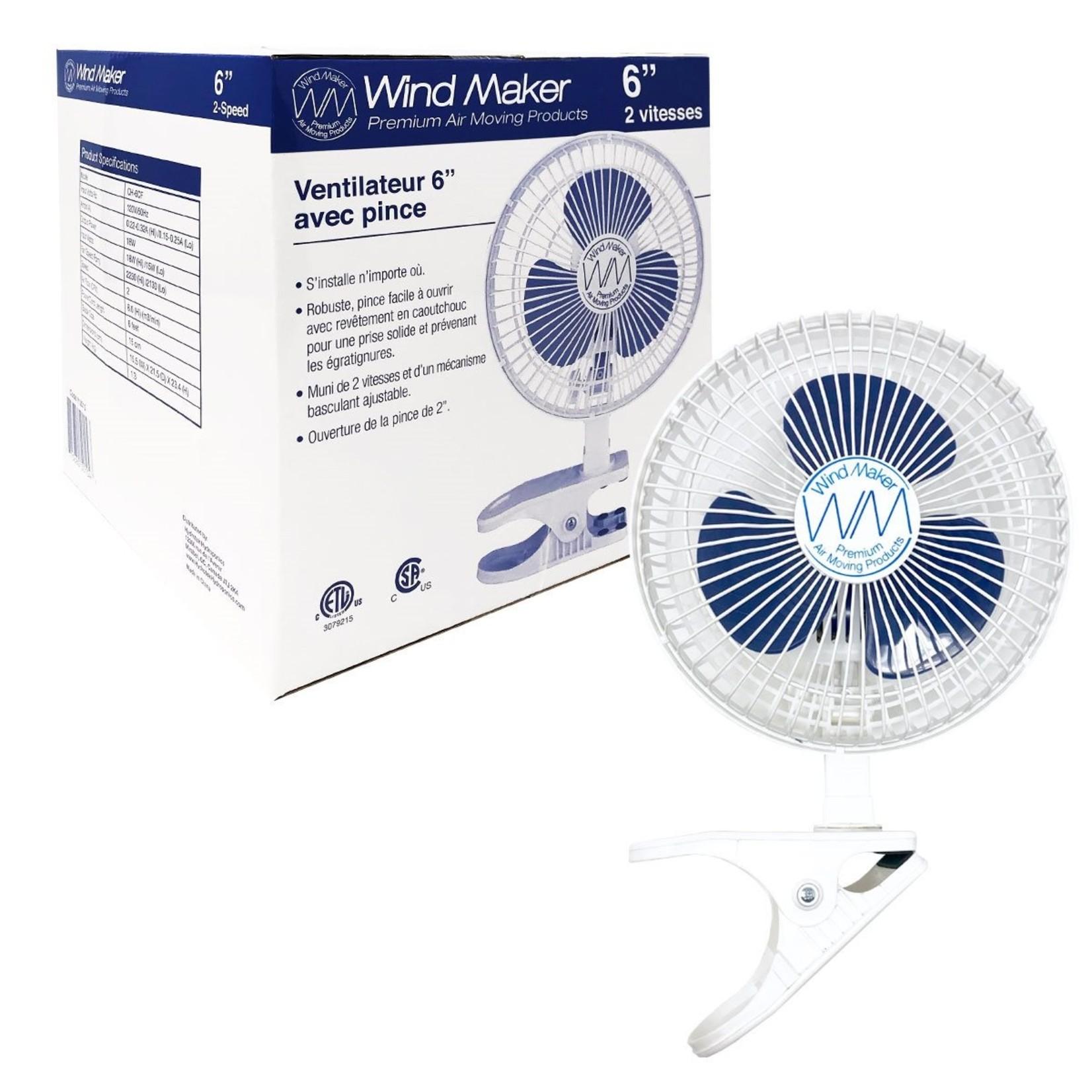 """WindMaker 6"""" Clip Fan 2-Speed 120V 18-14W"""
