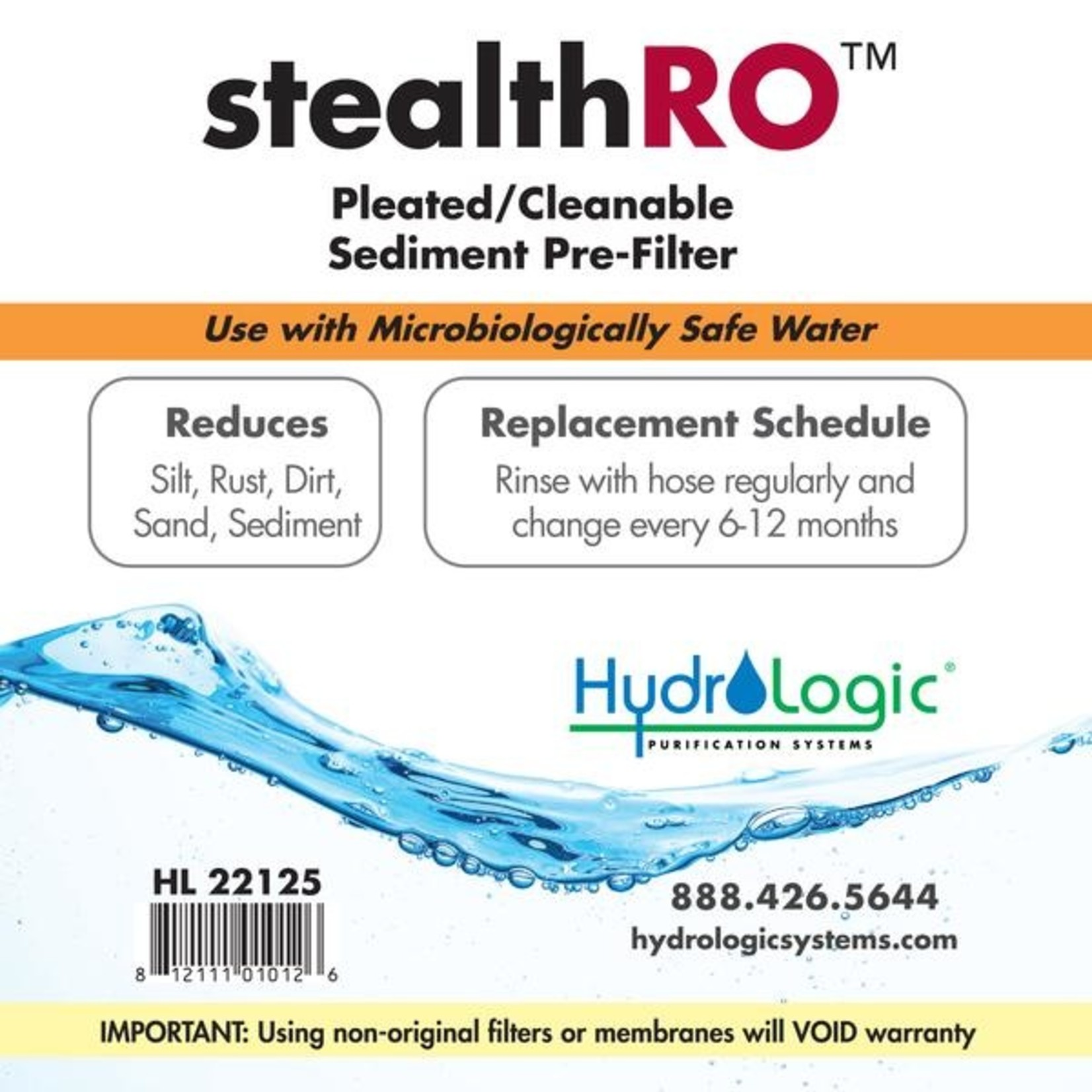 Hydrologic HYDROLOGIC STEALTH-RO PLEATED SEDIMENT FILTER