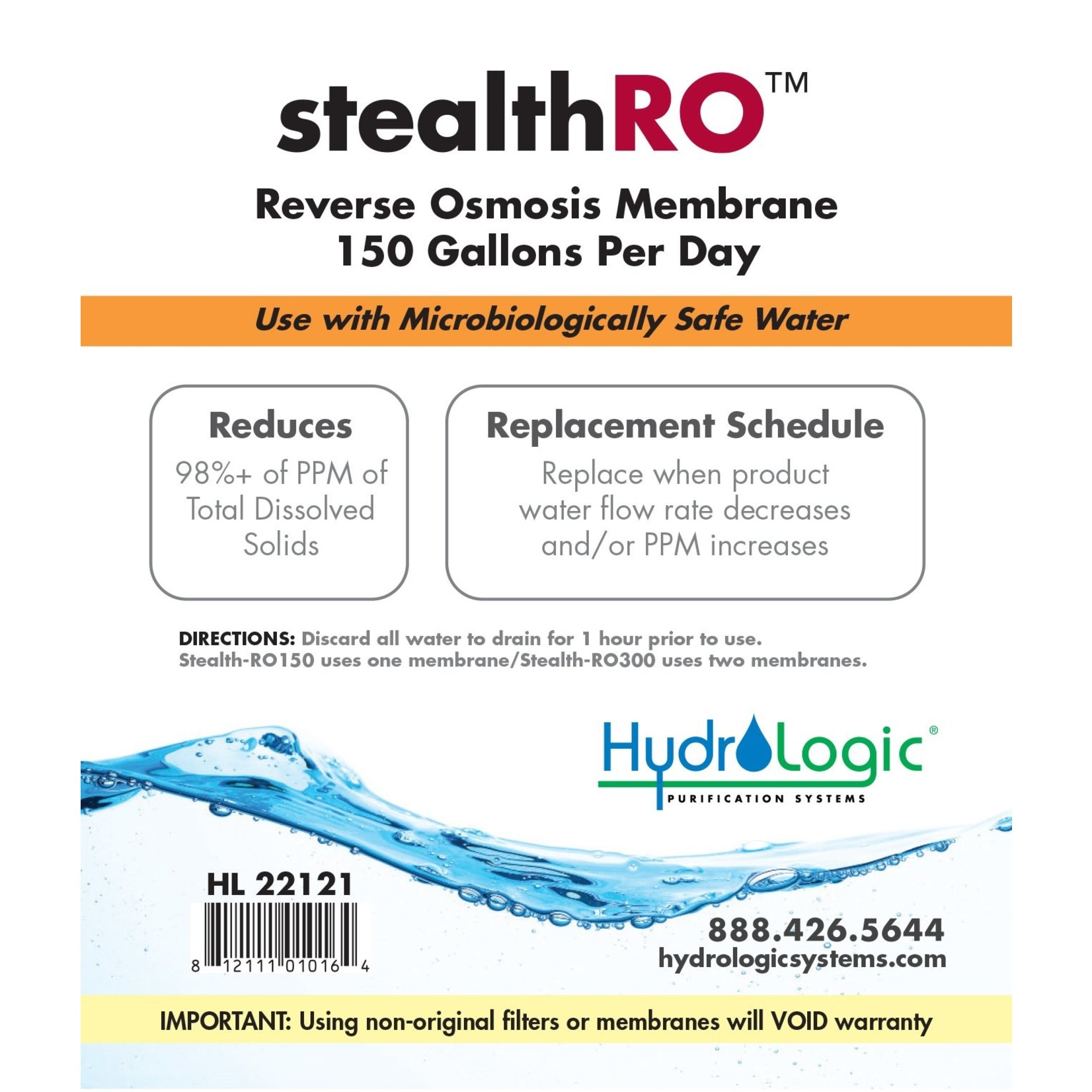 Hydrologic HYDROLOGIC STEALTH-RO150 / 300 MEMBRANE