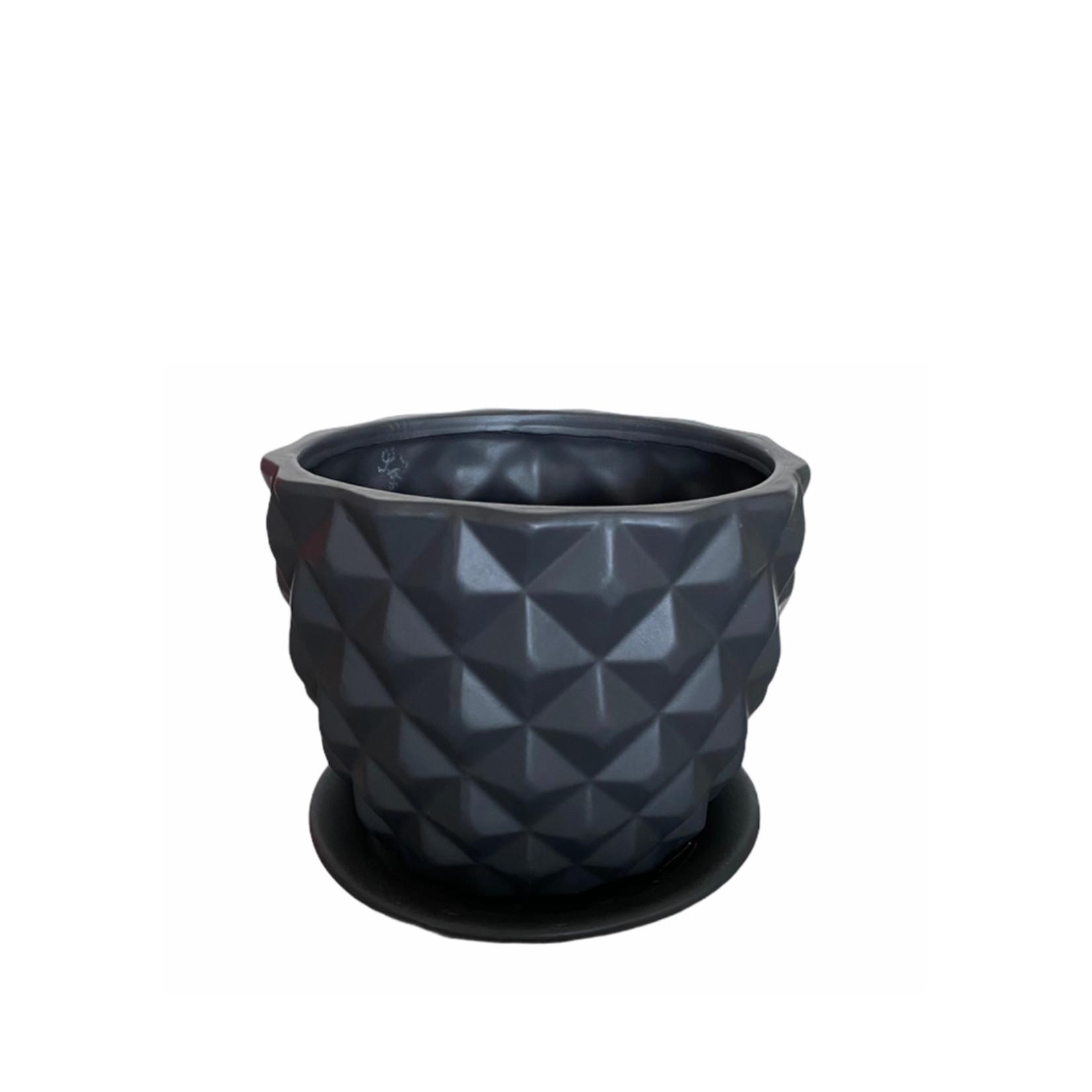 Gline Matte Black Ceramic Pixel with Saucer 18cm