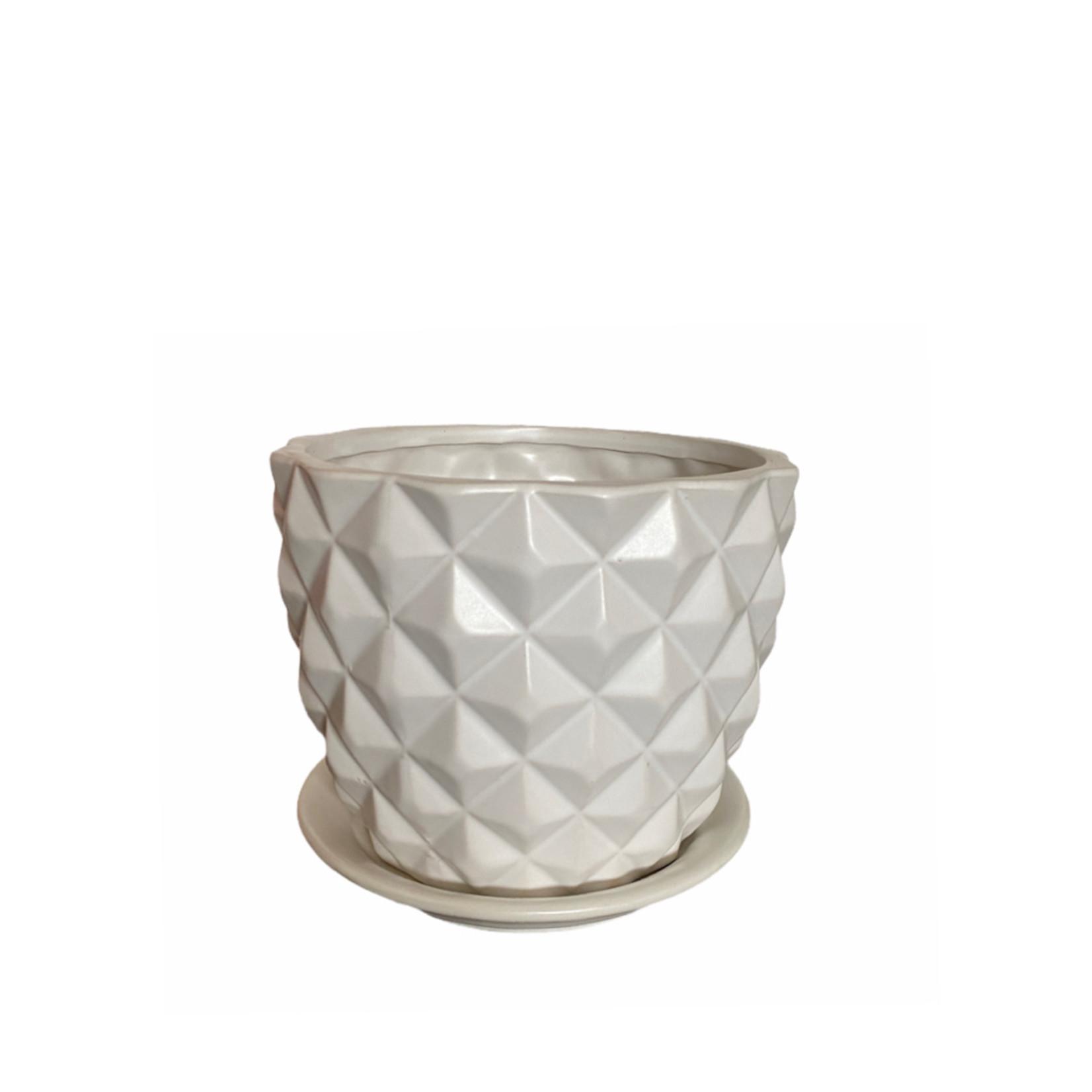 Gline Matte White Ceramic Pixel with Saucer 18cm