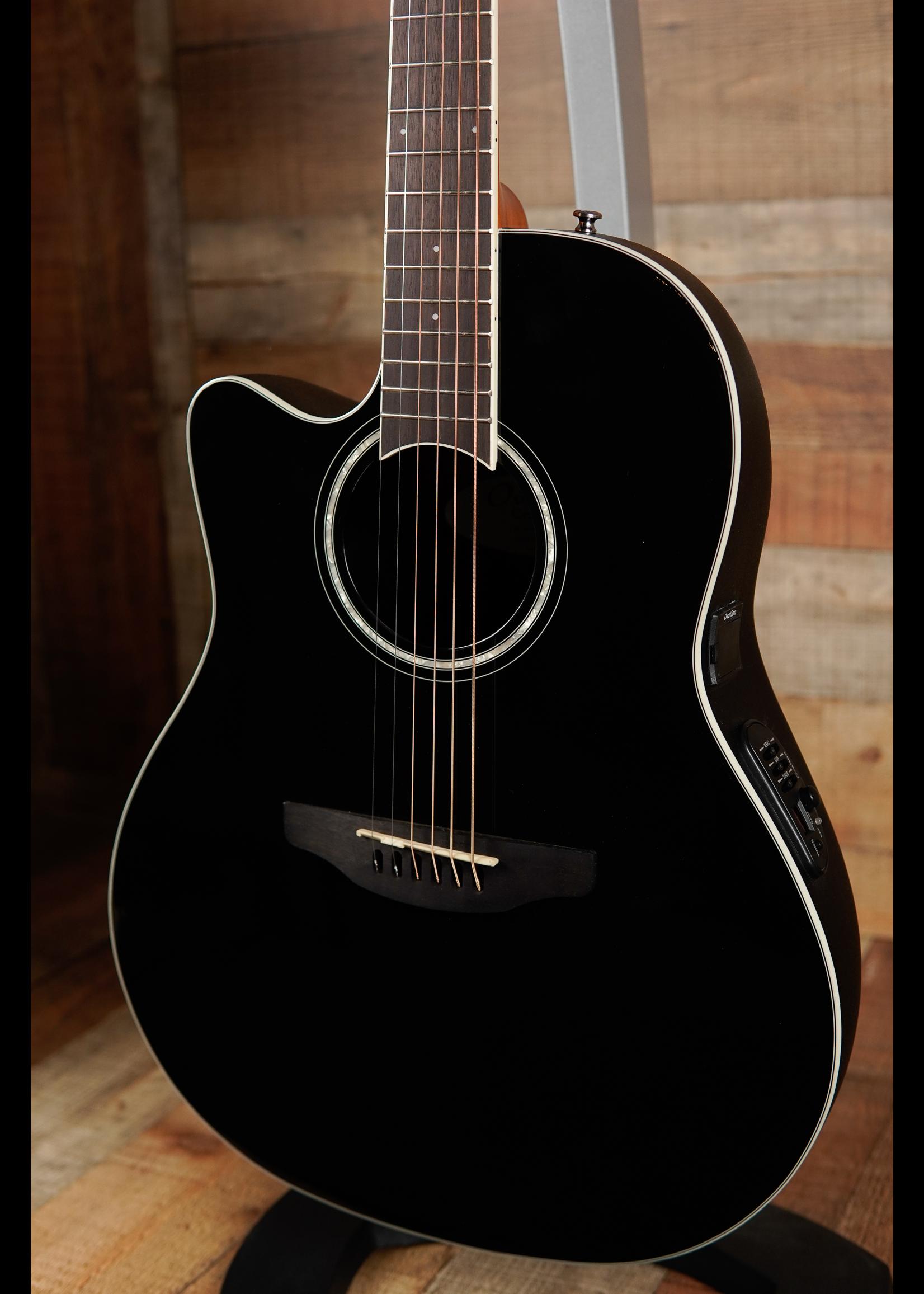 Ovation Ovation Celebrity Standard E-Acoustic Guitar CS24L-5G, CS/Cutaway, Black, Lefty,Mid-Depth