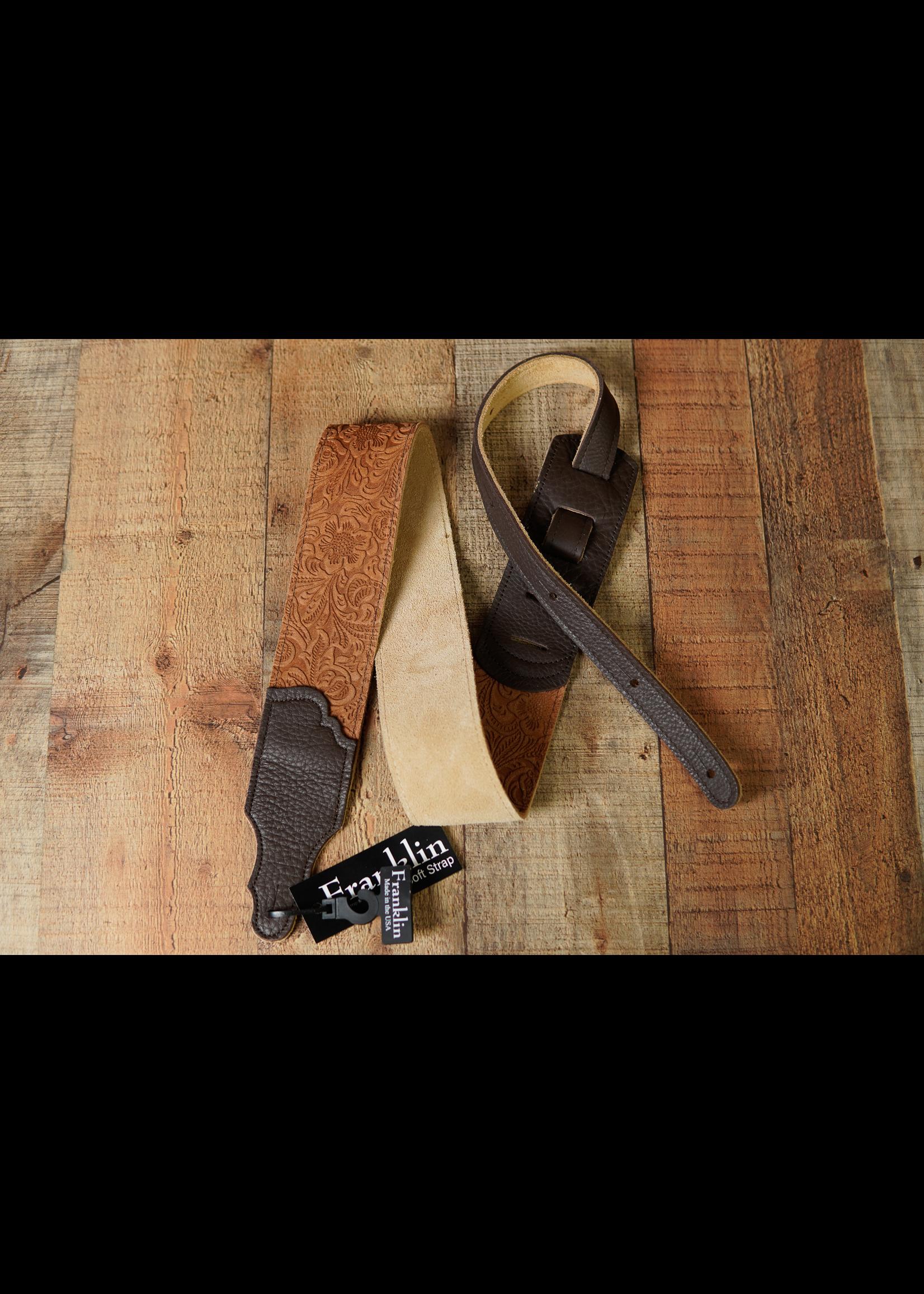 """franklin Franklin 2.5"""" Embossed Suede/Glove Leather EndTab/Caramel/Choc End"""