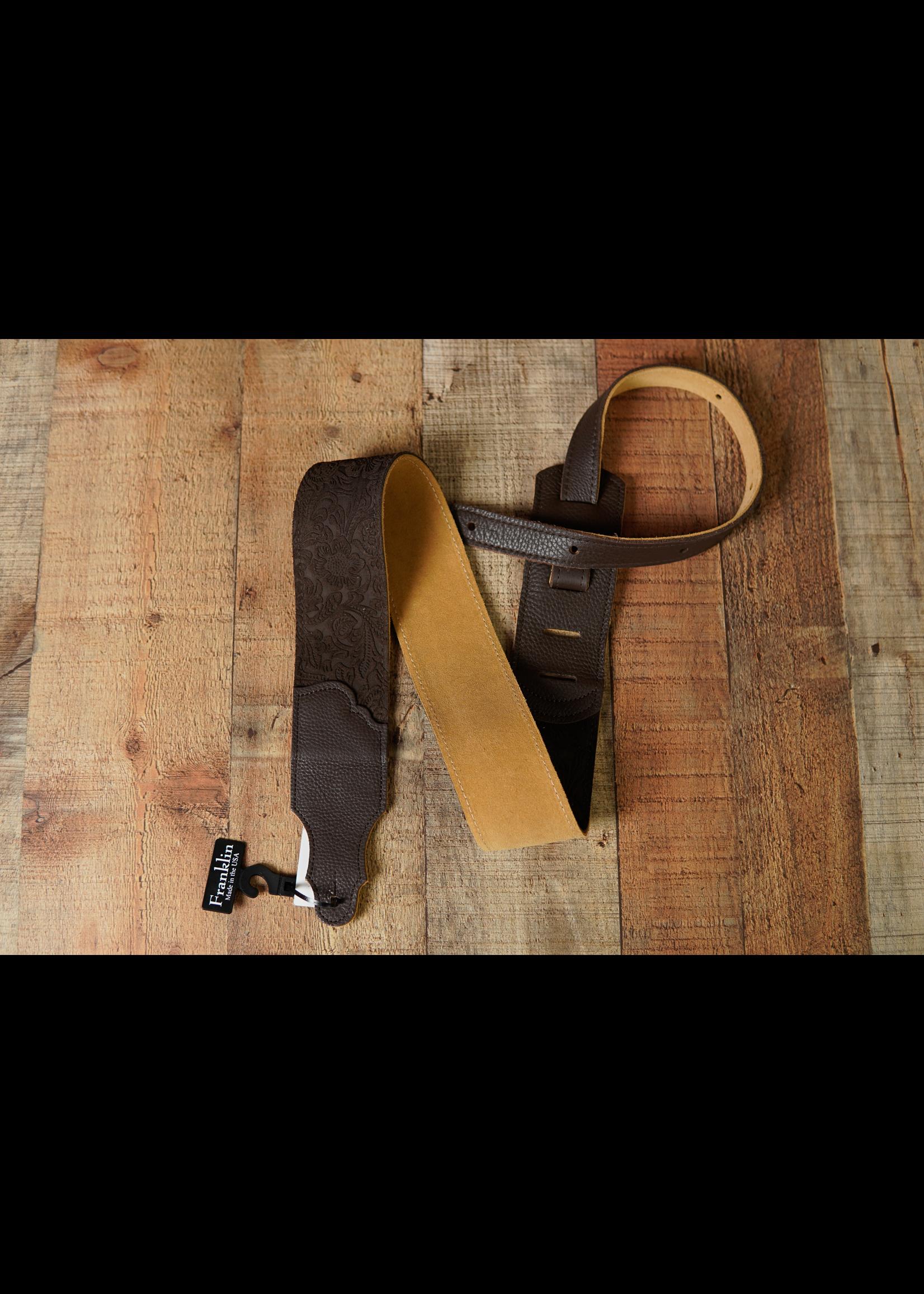 "franklin Franklin 2.5"" Embossed Suede/Glove Leather EndTab/Choc/Choc End Strap"