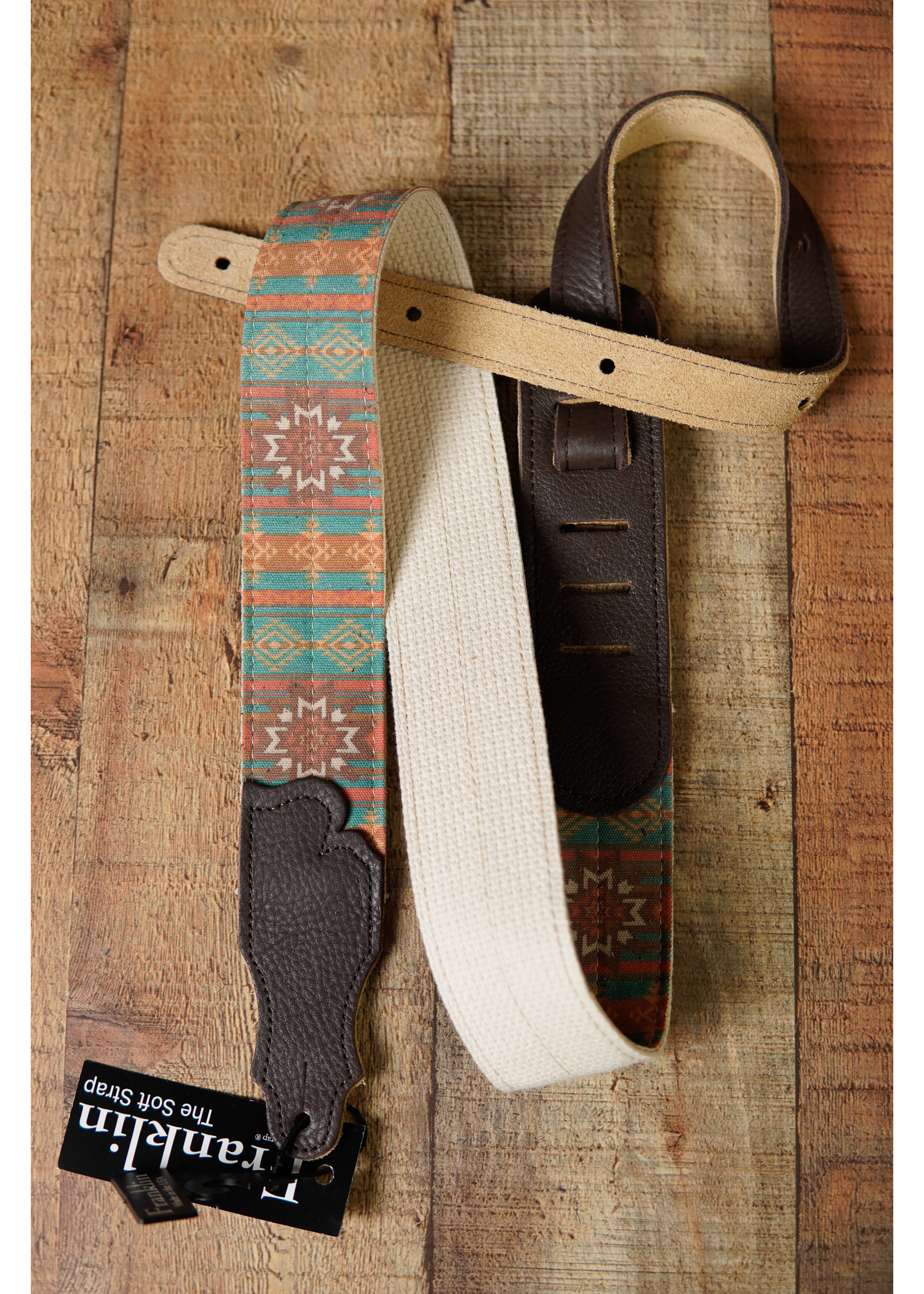 """franklin Franklin 2"""" Turquoise Old Aztec Graphic/Natural Cotton Web/Chocolate Ends Strap"""