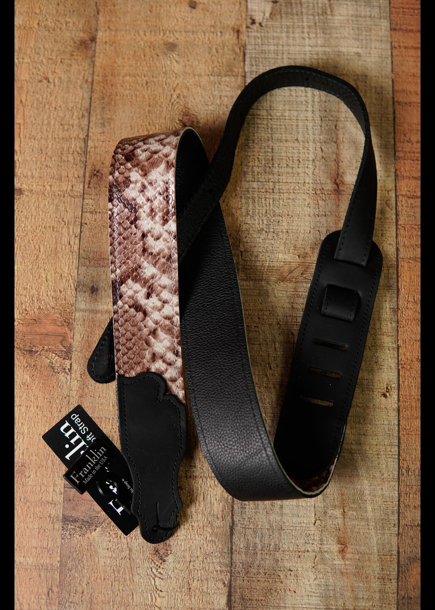 """franklin Franklin 2"""" Black Snakeskin Leather/Ball Glove Leather End Tabs Straps"""