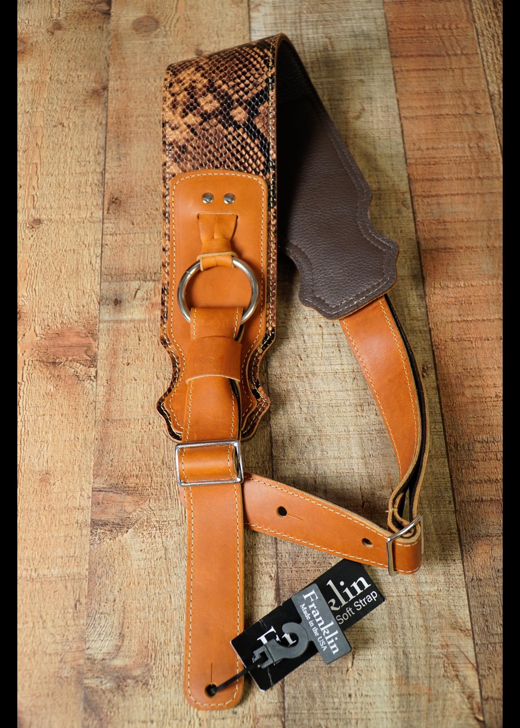 franklin Franklin  3.5'' Glove Leather SNAKE Bass Garment Leather Backing/Chrome Ring Cognac