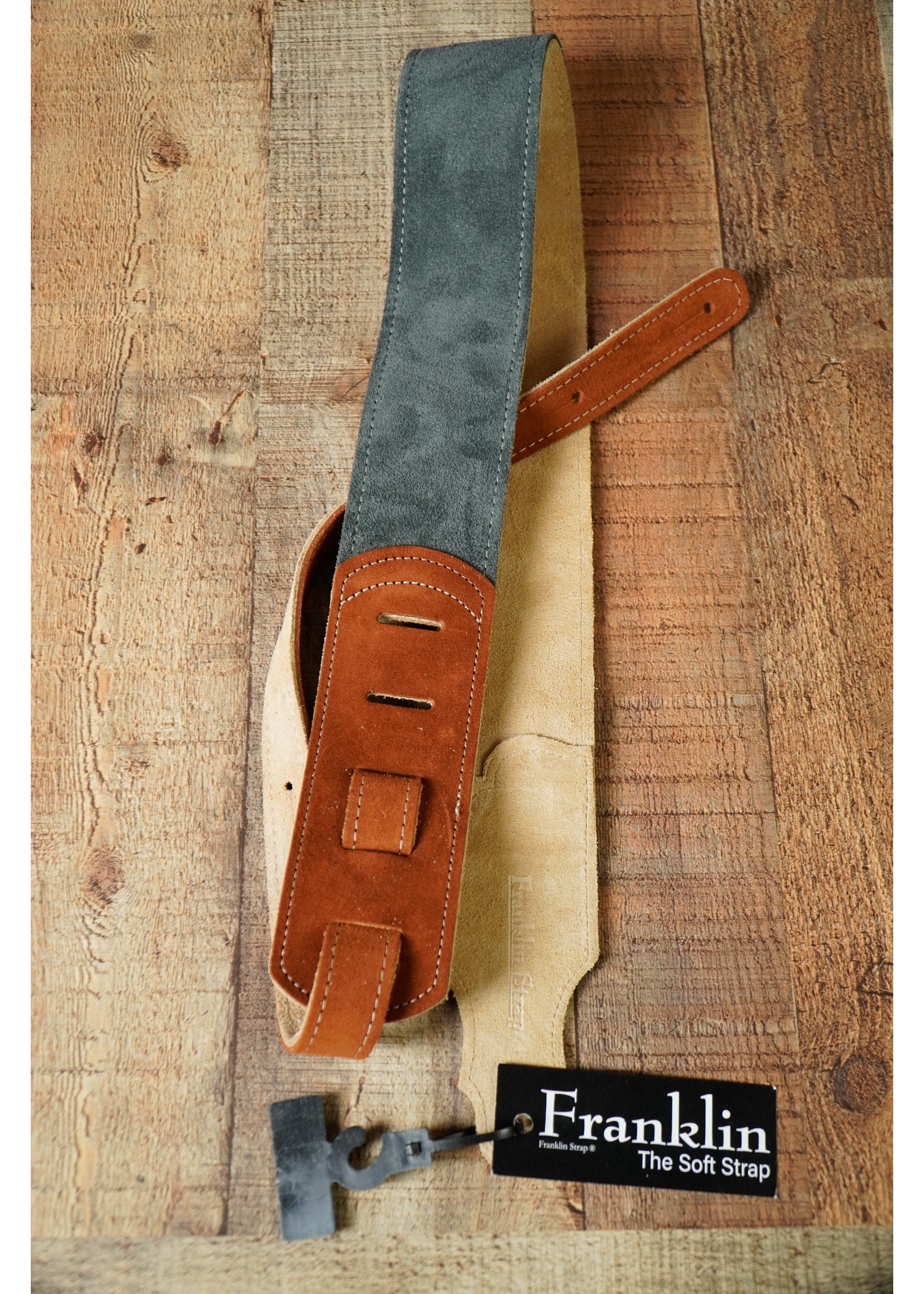 """franklin Franklin 2.5"""" Gray Sedona Suede/Natural Stitching/Rust End Tabs"""