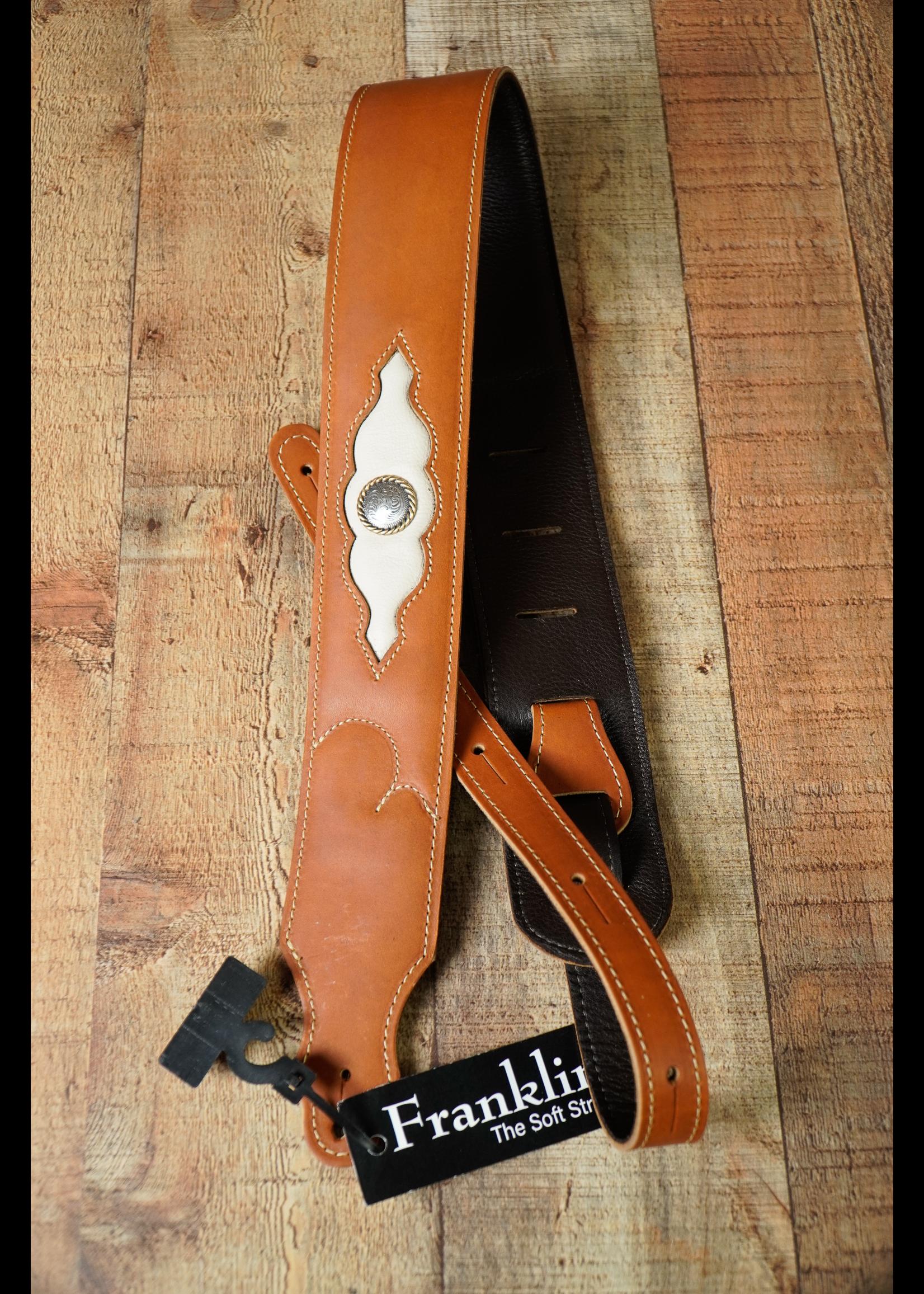 "franklin Franklin 2.5"" Padded Latigo Leather/Glove Leather Sculpted Inset/Cognac/Cream"