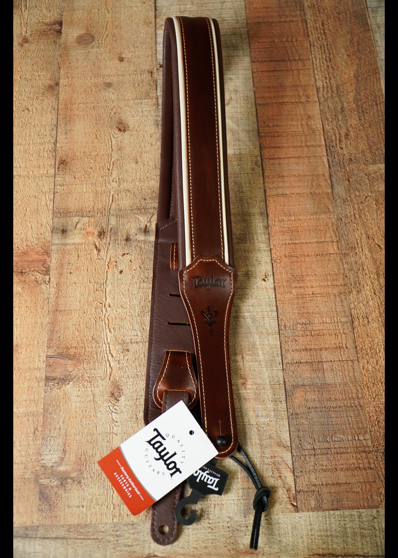 """Taylor Taylor Century Strap,Cordovan Leather,2.5"""" Cordovan/Cream/Cordovan"""